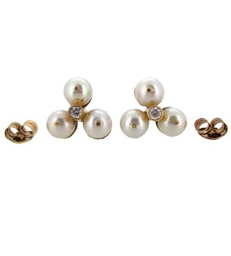 Pendientes con perlas y diamantes
