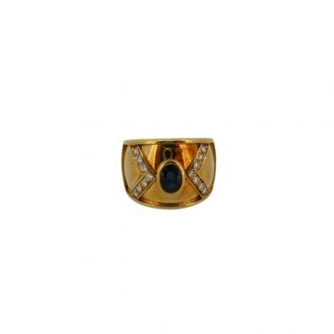 sortija de zafiro y diamantes de oro amarillo 18K