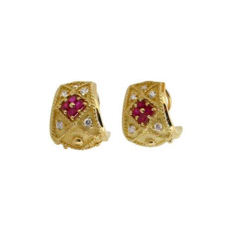 Pendientes de oro amarillo de 18k 750 milésimas, con rubíes y diamantes
