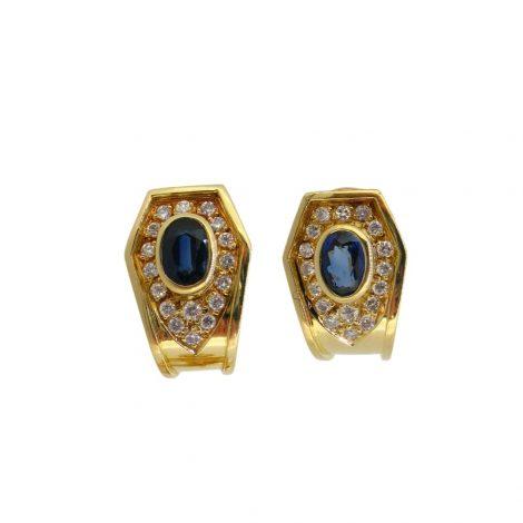 Pendientes con diamantes y zafiros, oro amarillo 18K.