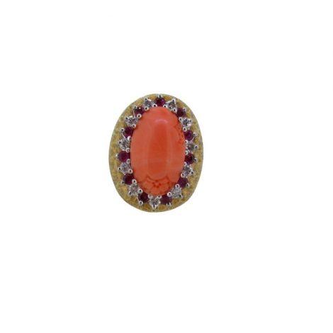 Sortija coral, rubies y diamantes, oro 18k