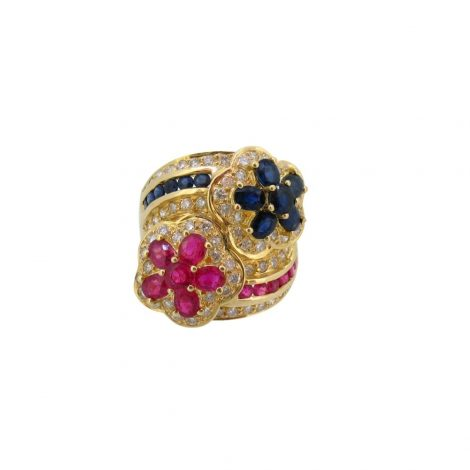 Sortija con diamantes rubies y zafiros
